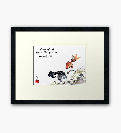 A stream of Life ... Haiga Framed Print