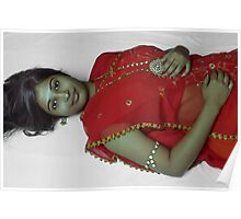 Beauty in Red Sari Poster