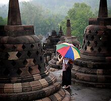 Umbrella - Borobudur - Indonesia by Erin McMahon