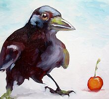 Crow with cherry by Miles Histand