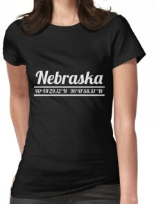 Nebraska - State Coordinates Womens Fitted T-Shirt