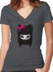 Little Scary Doll Updated Women's Fitted V-Neck T-Shirt