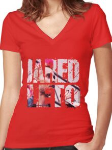 Jared Leto 30 seconds to mars Women's Fitted V-Neck T-Shirt