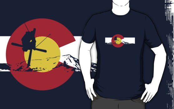 Skier - Colorado Flag - Iron Cross by FlagSilhouettes
