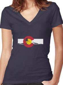 Skier - Colorado Flag - Iron Cross Women's Fitted V-Neck T-Shirt