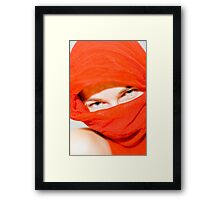 Blue eyes with red scarf Framed Print
