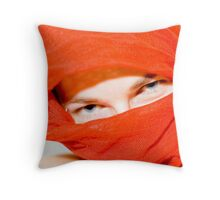 Blue eyes with red scarf Throw Pillow