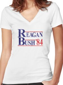 Reagan Bush '84 Election Vintage  Women's Fitted V-Neck T-Shirt