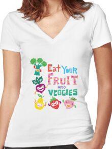 Eat Your Fruit & Veggies  Women's Fitted V-Neck T-Shirt