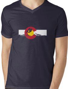 Snowboarder - Colorado Flag Mens V-Neck T-Shirt