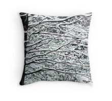 Tree Branches in Snow Throw Pillow