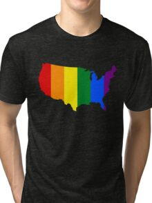 AMERICA USA GAY MARRIAGE PRIDE MAP Tri-blend T-Shirt