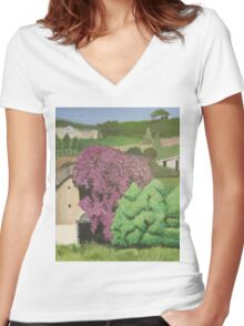 Rural Italian landscape painting Women's Fitted V-Neck T-Shirt