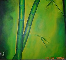 Green Bamboo and Leaves Acrylic on Canvas 11x14 by boocifer