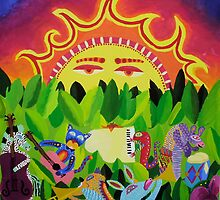 Animals play at Sunset by Avé Renée