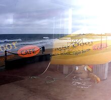 Sponsored boats, window reflections. by Esther's Art and Photography