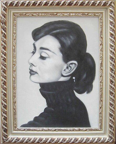 B&W classical Audrey Hepburn portrait by diasha