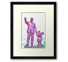 Mickey Mouse and Walt Disney iphone Case or Skin Statue in Disneyland Pink Pointillism Framed Print
