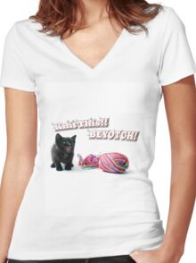 Knit This! Women's Fitted V-Neck T-Shirt