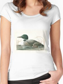 Canadian Loons - realistic animal portrait Women's Fitted Scoop T-Shirt