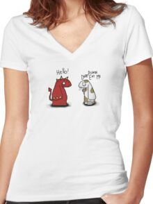 Please don't eat me Women's Fitted V-Neck T-Shirt