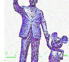 Mickey Mouse and Walt Disney iphone Case or Skin Statue in Disneyland Blue Pointillism by kellyblackie