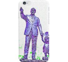 Mickey Mouse and Walt Disney iphone Case or Skin Statue in Disneyland Blue Pointillism iPhone Case/Skin