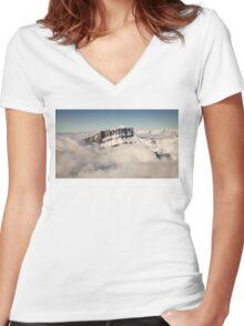 Above the Clouds, French Alps Women's Fitted V-Neck T-Shirt