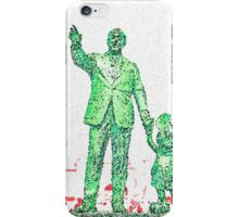 Mickey Mouse and Walt Disney iphone Case or Skin Statue in Disneyland Green Pointillism iPhone Case/Skin