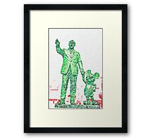 Mickey Mouse and Walt Disney iphone Case or Skin Statue in Disneyland Green Pointillism Framed Print