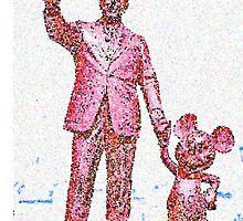 Mickey Mouse and Walt Disney iphone Case or Skin Statue in Disneyland Red Pointillism by kellyblackie