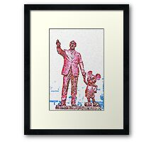 Mickey Mouse and Walt Disney iphone Case or Skin Statue in Disneyland Red Pointillism Framed Print
