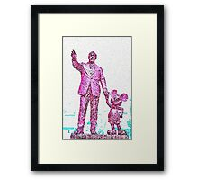 Mickey Mouse and Walt Disney iphone Case or Skin Statue in Disneyland Purple Pointillism Framed Print