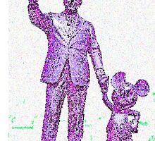 Mickey Mouse and Walt Disney iphone Case or Skin Statue in Disneyland Purple Pointillism by kellyblackie