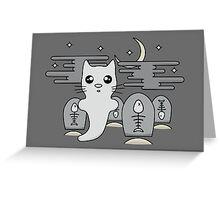 Kawaii cat ghost in spooky graveyard Greeting Card