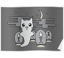 Kawaii cat ghost in spooky graveyard Poster