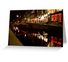 Red Light Swans Greeting Card