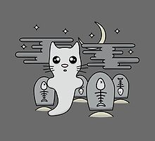 Kawaii cat ghost in spooky graveyard by Gemma Homer