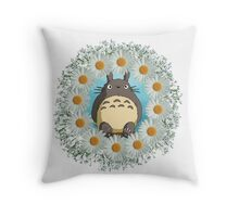 Totoro n Daisies Throw Pillow