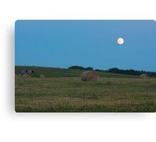 Moon above the prairies Canvas Print