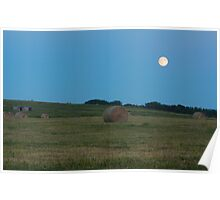 Moon above the prairies Poster