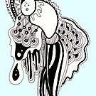 Blue doodle art monster by Leanne Davidson-Watt