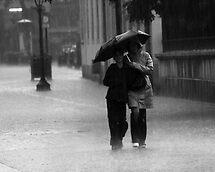 Walking in the rain by Gabor Pozsgai