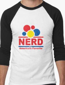 nerd alert white  Men's Baseball ¾ T-Shirt