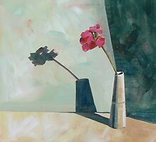 'Come back, shadow' Geranium in little vase. by CatSalter