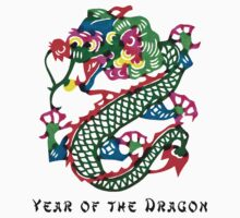 Chinese Year of The Dragon Painted Paper Cut by ChineseZodiac