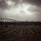 Snow clouds and Farm Fields by redhairedgirl