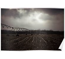 Snow clouds and Farm Fields Poster