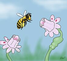 Mesmerflora duplicitus - flower and bee cartoon by holty