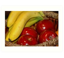 Red apples with banana Art Print